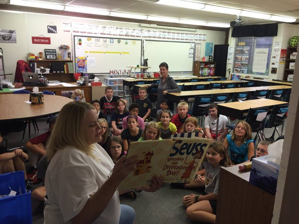 Christy sharing Dr. Seuss.